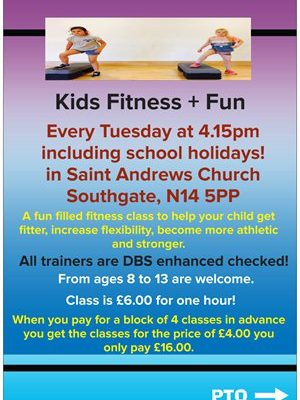 kids fitness +fun front of flyer